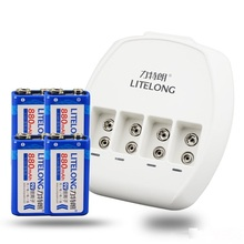4X 9v High capacity 880mAh li-ion lithium Rechargeable 9 Volt Battery + 4 slots 9v Dedicated charger for microphone