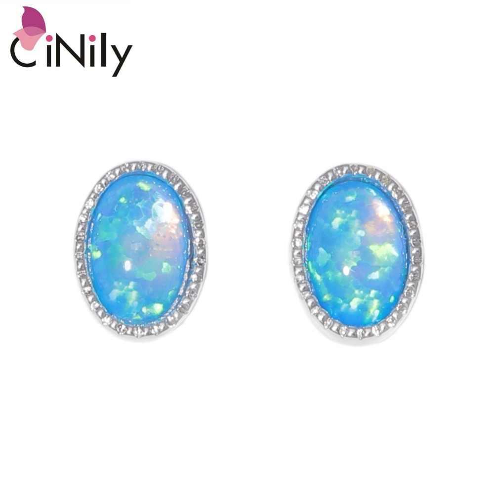 CiNily נוצר לבן כחול אש אופל 6x4mm כסף מצופה סיטונאי סגלגל-צורת לנשים אירוסין Stud עגילי 7mm OH4531-32