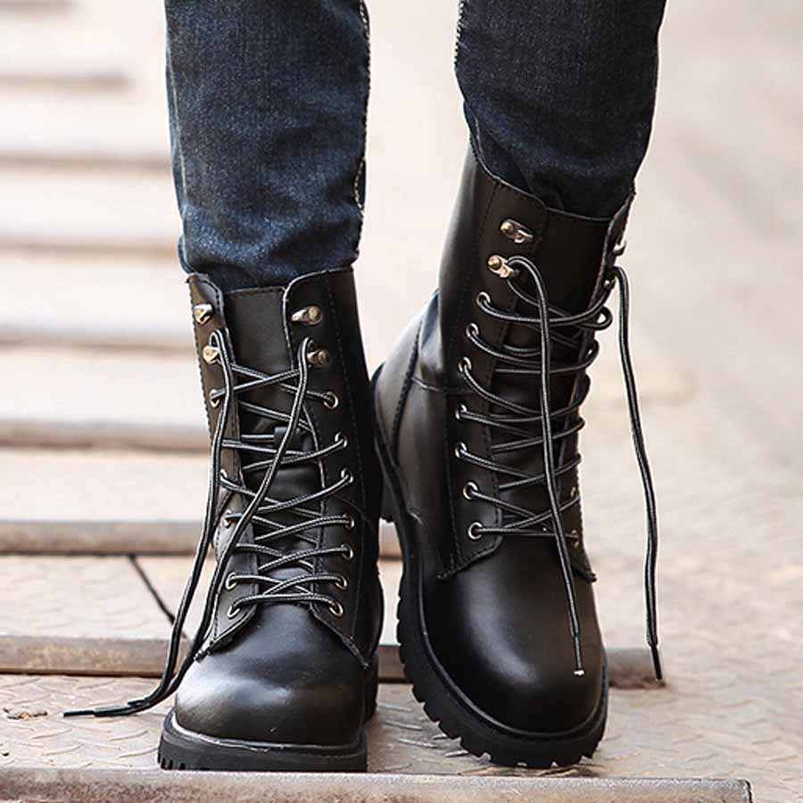 ODEMA New Arrival Winter Warm Plush Men Boots Casual Lace Up