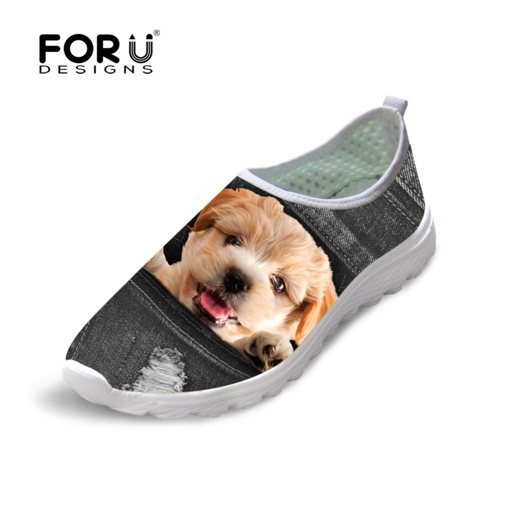 FORUDESIGNS Fashion Girls Super Light Flats Shoes Cute Denim Animal Puppy Dog Pattern Women's Beach Summer Shoes Woman Zapatos forudesigns cute animal dog cat printing air mesh flat shoes for women ladies summer casual light denim shoes female girls flats