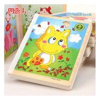 N123 Bébé puzzle classique jouet ours bébé de jour amusant en bois puzzle en bois livre style livraison aléatoire