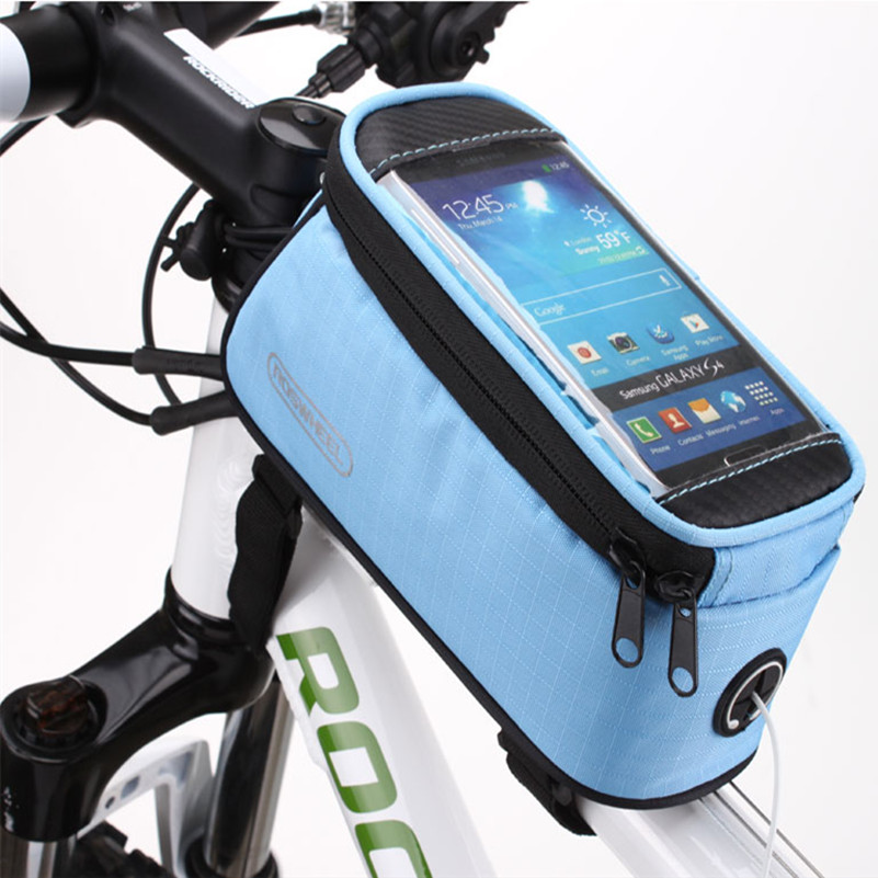 Bicycle bag <font><b>bike</b></font> front frame top tube bag cycling bag bags <font><b>accessories</b></font> waterproof anti skid for 5.2 5.7 4.2 inch phone