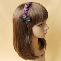 Women Hairband Fashion Rose Bow Tie Purple Accessories Chic Elegant Delicate Appointment Outdoor Female Vintage Sweet
