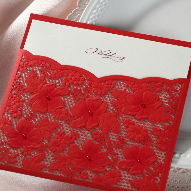 Personalized Elegant Floral design Laser Cut Wedding Invitation ...
