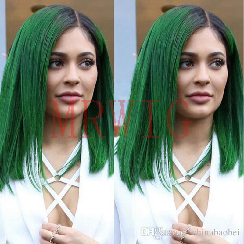 MRWIG 12in side part synthetic glueless front wig ombre green short bob straight dark roots