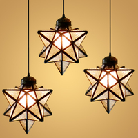 American Loft Star Single end Iron Pendant Ceiling Lamp Glass Droplight Cafe