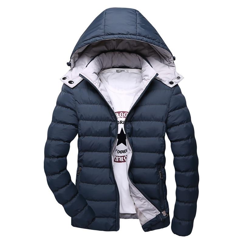 ФОТО Warm Men's Winter Jackets Slight Waterproof Casual Outerwear Snow Coats Thick Hooded Winter Jacket For Man 4xl Parka Men