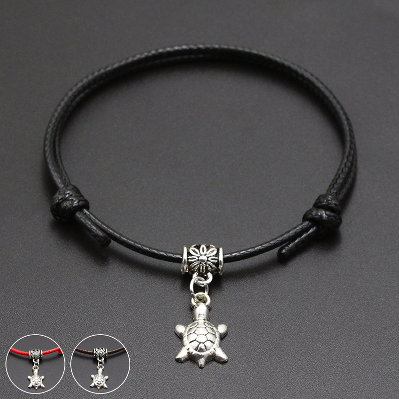 2020 New Tortoise Turtle Pendant Red Thread String Bracelet Lucky Black Coffee Handmade Rope Bracelet for Women Men Jewelry