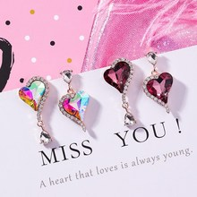 2019 Colorful Hanging Hearts Crystals Drop Earrings For Women Cute Love Heart Sweet Party Jewelry