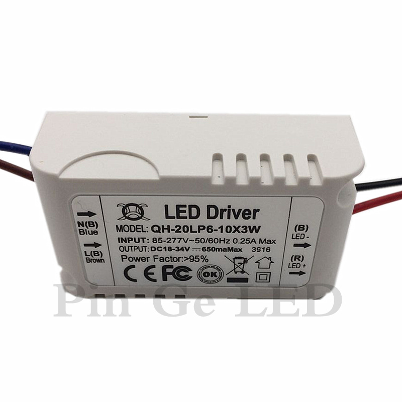 5 Pieces Isolation 20W AC85-277V LED Driver 6-10x3W 600mA DC18-34V LEDPower Supply Constant Current Ceiling Lamp