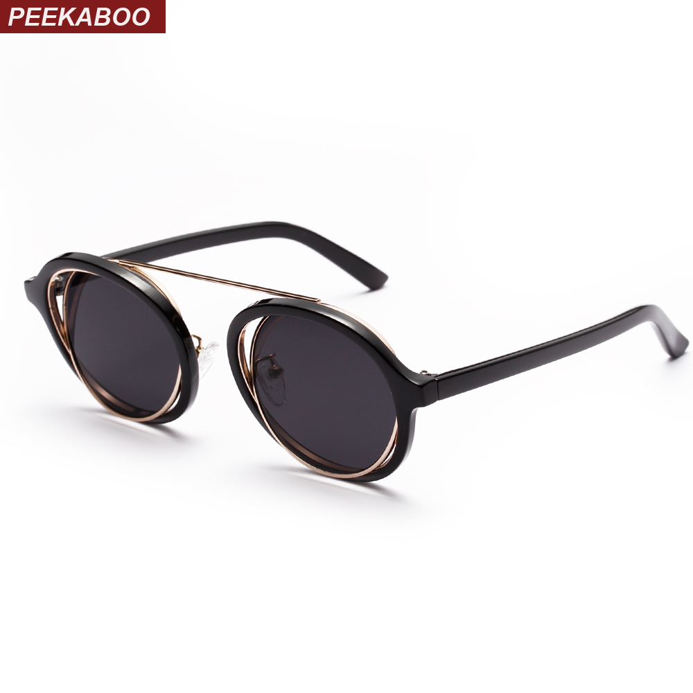 Peekaboo classic vintage round sunglasses for men brand designers 2018 purple yellow black transparent sun glasses women retro