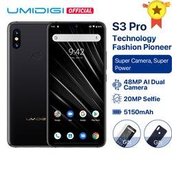 Umidigi s3 pro android 9.0 48mp + 12mp 20mp super câmera 5150 mah grande potência 128 gb 6 gb 6.3