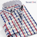 Smart Five Mens Shirts 2016 New Style Summer Patterns Plaid Men Shirt Long Sleeve Cotton Imported Clothing