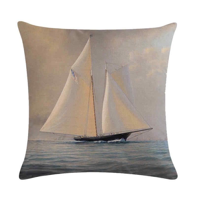 海スタイル装飾枕航海ヨットボートリネン枕ヨットクッションカバー車のソファホテルホーム Decor45x45cm ZY145