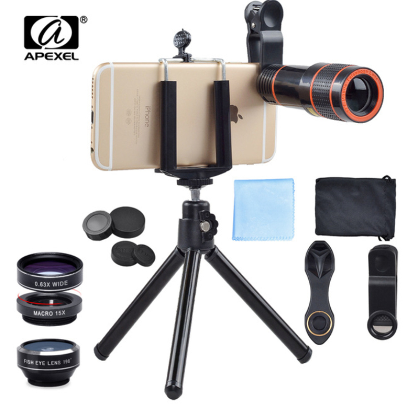 APEXEL 6IN1 telefon kamera lens 12X Telescope telefonoto Zoom + - Cib telefonu aksesuarları və hissələri - Fotoqrafiya 1
