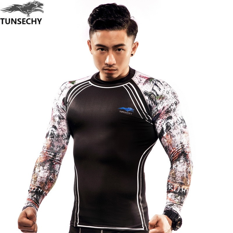 Hombres Camisas de Compresión TUNSECHY marca Keep Fit Fitness Mangas - Ropa de hombre