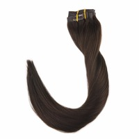 Full Shine Clip In Tape Hair Extensions Dark Brown Color#2 Seamless PU Tape With Clip 8Pcs 100g 100% Real Remy Hair Clip In Hair