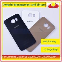 50 unids/lote para Samsung Galaxy S6 G920 G920F G9200 G920A carcasa batería puerta trasera cubierta de cristal carcasa chasis carcasa reemplazo