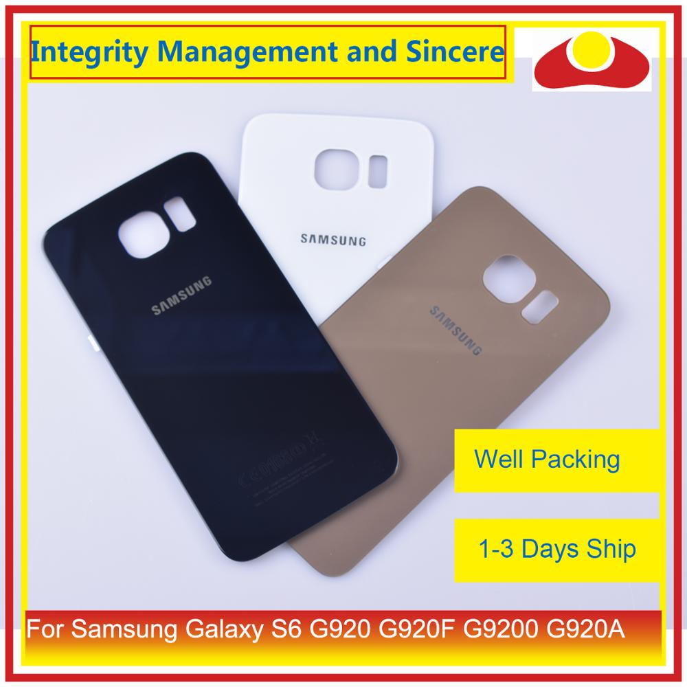 Original For <font><b>Samsung</b></font> <font><b>Galaxy</b></font> <font><b>S6</b></font> G920 G920F G9200 G920A Housing Battery Door Rear Back <font><b>Glass</b></font> Cover Case Chassis Shell <font><b>Replacement</b></font> image
