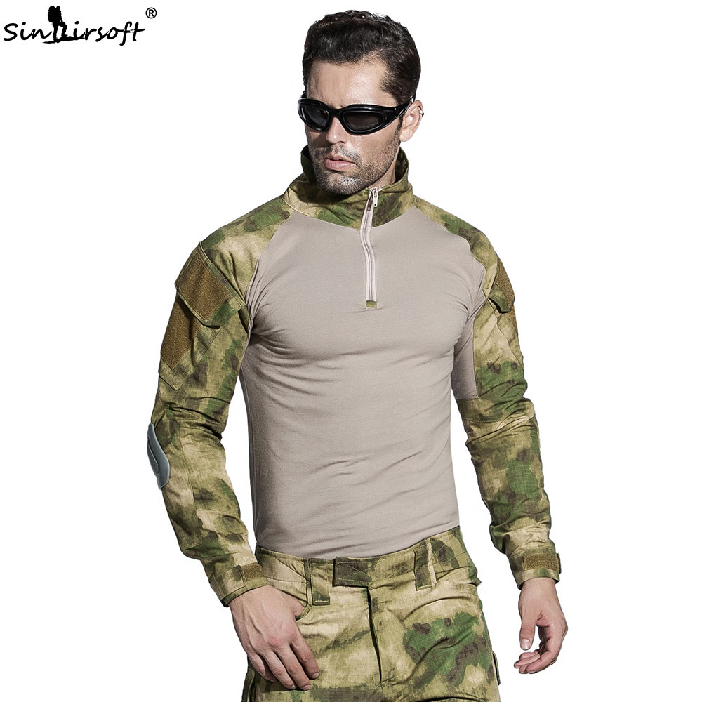 SINAIRSOFT Military Tactical BDU Hunting Men Uniform With Knee Pads Elbow Pads Army Combat Shirt Pants camouflage clothes