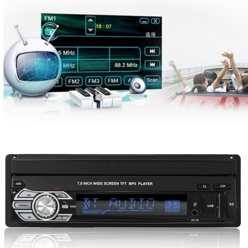 2018 Car Stereo Audio Radio Bluetooth 1din 7 Inch Hd Retractable Touch Screen Monitor Dvd Mp5 Sd Fm Usb Player Rear View Camera 2din car radio 7 hd touch screen player mirror mp5 sd fm mp4 usb aux bluetooth car audio rear view camera remote control no dvd