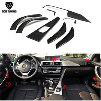 8 pcs / Set For BMW F30 3 Ser GT 4 Ser F36 & 6 pcs For 4 Ser F32 F33 Carbon Fiber Interior Trim Only LHD Gloss Black Carbon Trim