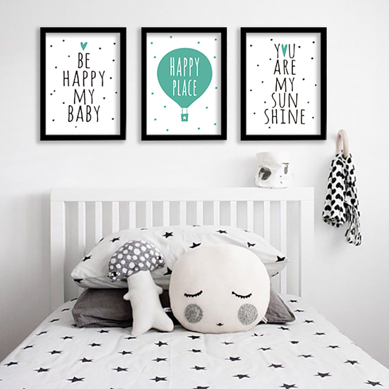 Nursery be happy cartoon kids room pink wall art canvas for Kids room canvas