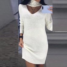 aaa5e5b6a8 Sexy Hollow Out Keyhole Sweater Dress 2018 Women Autumn Winter Pearl Beaded  Mini Dress Turtleneck Long