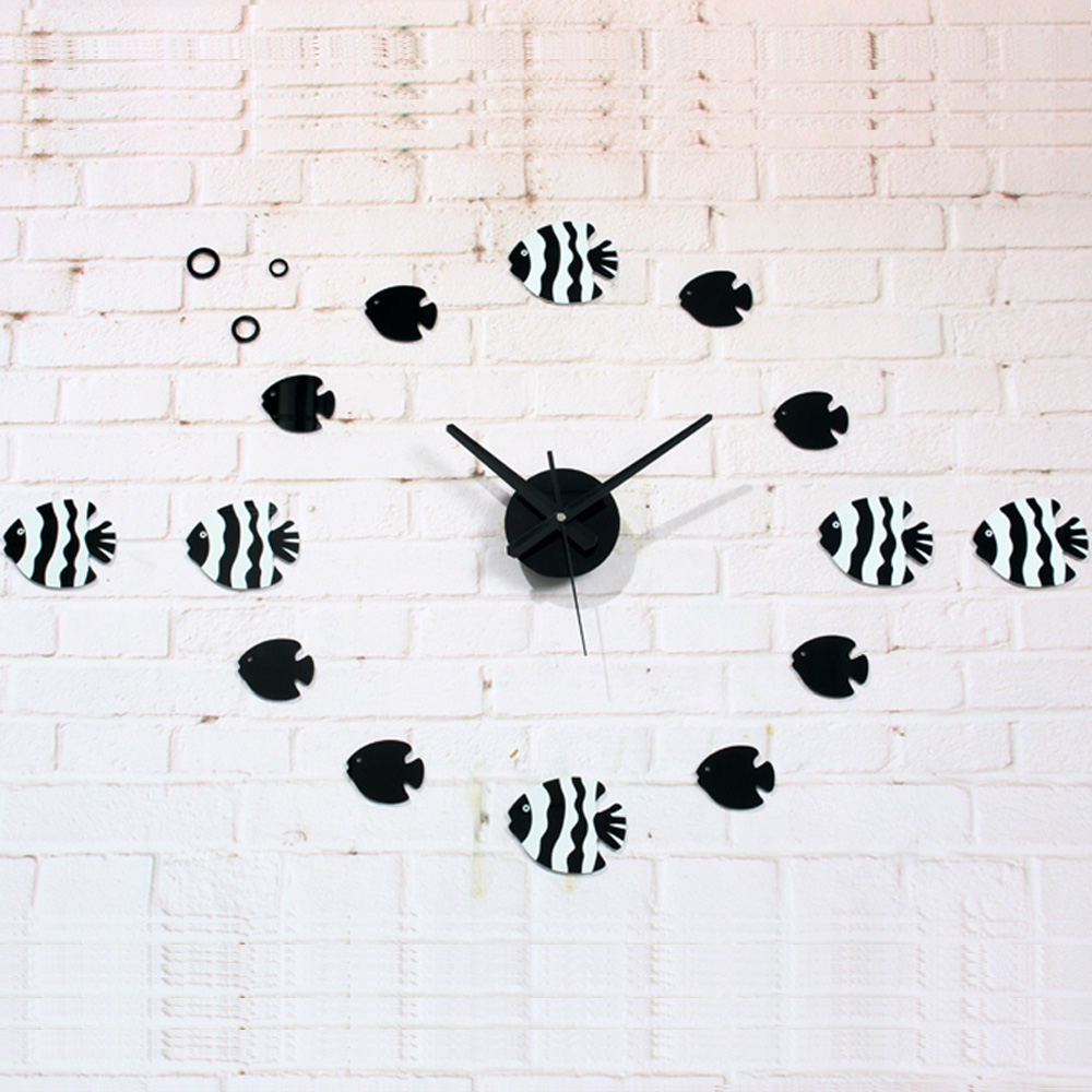 Fish wall clocks picture more detailed picture about fantastic fantastic ocean wind trophic fish wall clock 3d diy acrylic quartz clock home decoration lovely cute amipublicfo Images
