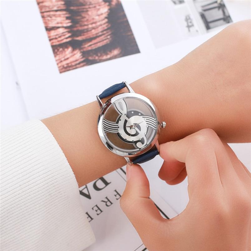 все цены на Simple Women Dress Watches Casual PU Leather Musical Note Quartz Analog Wrist Watch Relogio feminino Hours Clock Fashion 5N онлайн