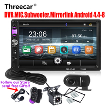 Threecar 2din Autoradio Specchio Link Android Autoradio per il subwoofer Bluetooth vivavoce USB DVR MIC Macchina Fotografica di Rearview 2 Din Radio
