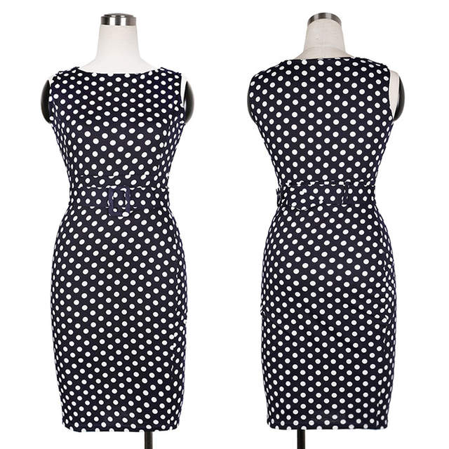 2a0480c8ac Oxiuly 5XL Vintage Sheath Dot Sleeveless Puff Natural Wear to Work Business  Office Knee-length Stretch Fitted Pencil Dress