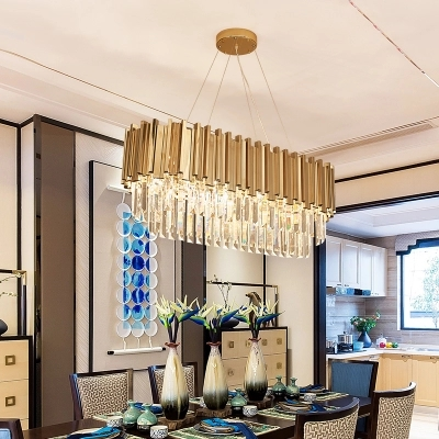 Dining Room Modern Crystal Chandelier Luxury Oval Hanging Light Fixtures Dining Room Suspension LED Lustres De CristalDining Room Modern Crystal Chandelier Luxury Oval Hanging Light Fixtures Dining Room Suspension LED Lustres De Cristal
