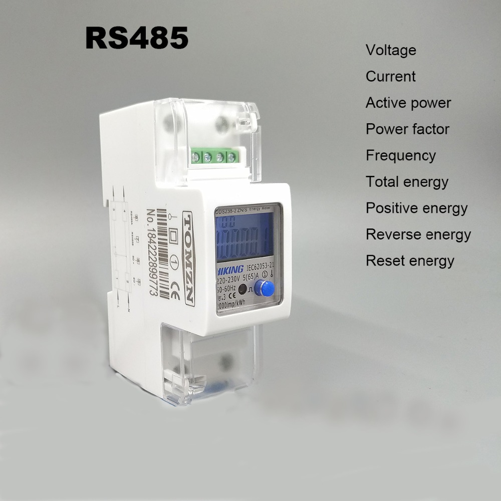 5(65)A 220V 230V 50HZ 60HZ Voltage Current DDS238-2 ZN/S Single Phase Din Rail KWH Watt Hour Energy Meter With RS485 MODBUS-RUT