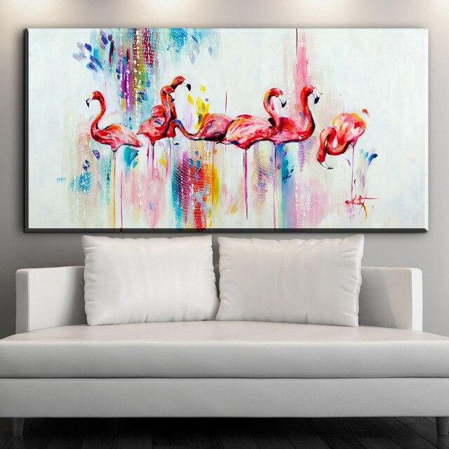 ZZ544 modern abstract canvas art watercolor Flamingo birds canvas ...