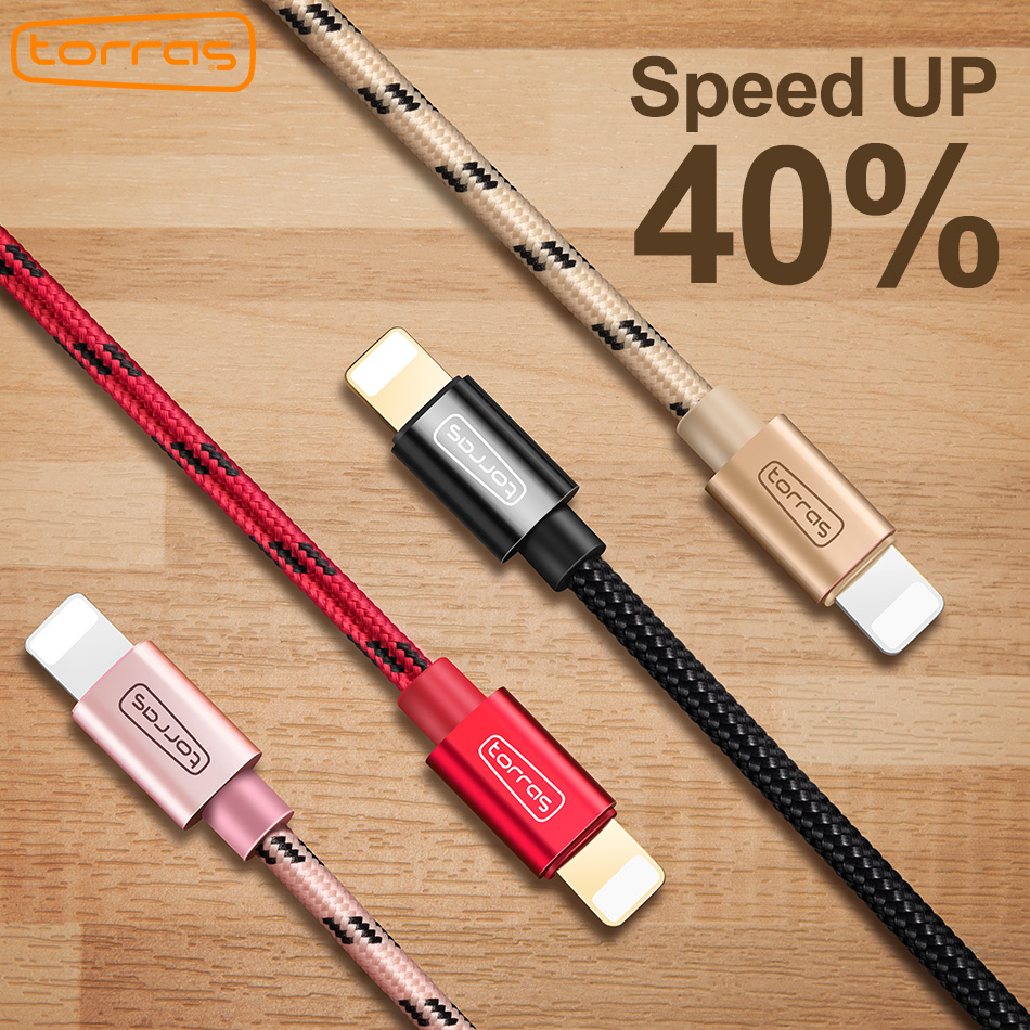 TORRAS Usb Cable For iPhone Fast Charging Data Nylon Cable Charger For iPhone X 8 7 6 Plus 5 Mobile Phone Cables For Apple Cable
