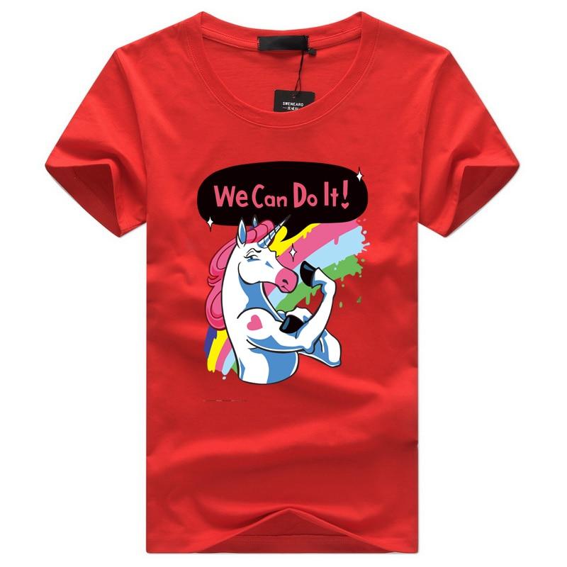 fa176fbf61d7 2018 New Unicorn t shirt Men Short Sleeve t shirts O Neck Red Tees Fashion  cartoon Print Hip Hop tshirt men Off white streetwear-in T-Shirts from Men s  ...