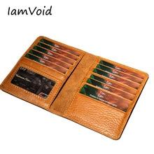 IamVoid, первый слой, натуральная кожа, кредитный держатель для карт, Воловья кожа, Премиум класс, натуральная кожа, кошелек для карт, Обложка для паспорта и лицензии