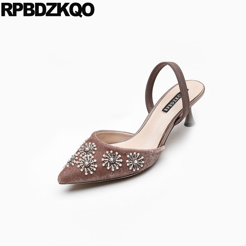 2018 sandals discount size 4 34 high quality velvet thin mules slipper pointed toe ladies mid heels shoes slingback pearl strap2018 sandals discount size 4 34 high quality velvet thin mules slipper pointed toe ladies mid heels shoes slingback pearl strap