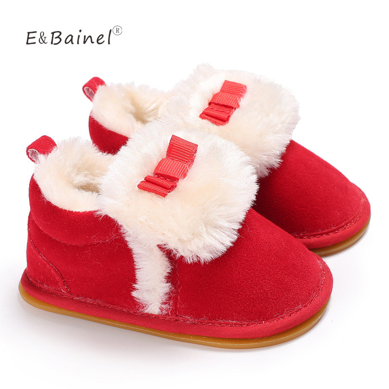 Suede Shallow Baby Shoes Lace-Up Solid Autumn Winter Warm Baby Girl Shoes Rubber Bottom First Walkers Fleece Baby Boot Snow Boot