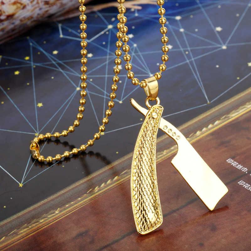 Quente barbeiro loja jóias lâmina de barbear tesouras do barbeiro navalha do exército itens de cartão charme colar pingente masculino feminino jóias presente