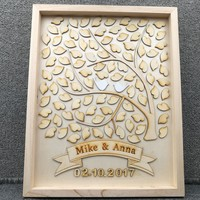 Personalised Rustic Wedding Guest Book Custom Drop Top Guestbook Box Bridal Shower Love Birds With 100pcs