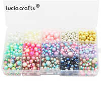 Lucia crafts 1140pcs/lot Mix Rainbow Color Round 4/6/8/10mm Imitation Pearl Beads No Holes DIY Handmade Accessories E1213