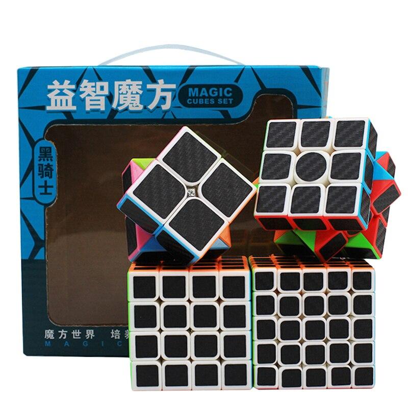4 pièces/ensemble Cubes magiques 2x2x2 3x3x3 4x4x4 5x5x5 fibre de carbone Cube magique Puzzle enfants jouet anniversaire cadeau de noël (S8