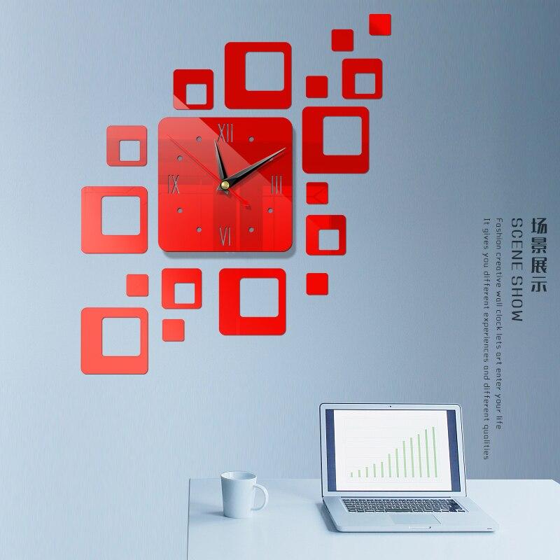 Американский современный большой 3D зеркальная поверхность настенные часы стикер домашний офис комната DIY Декор - Цвет: a