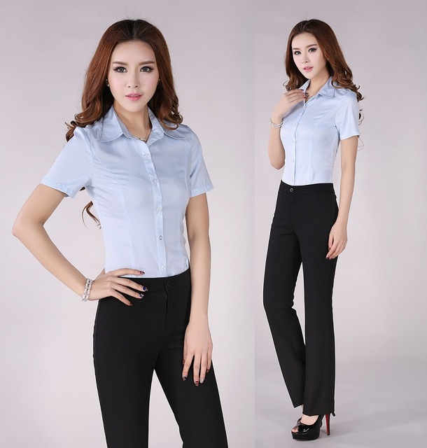 3f038485df Plus Size Professional Business Women Suits Blouse And Pants Formal  Pantsuits Work Wear Suits Ladies Trousers Set Elegant Blue