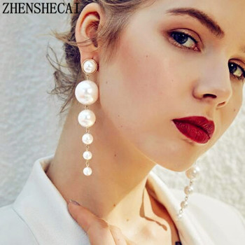 Elegant Created Big Simulated Pearl Long Earrings