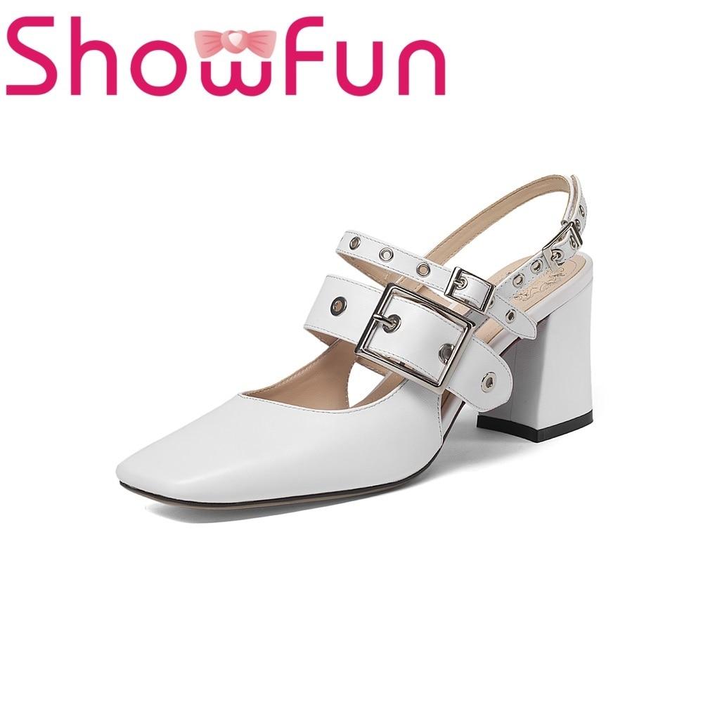 Showfun genuine leather shoes woman casual punk rivet polka dot buckle strap front&rear strap square heel sandals showfun 2018 genuine leather retro faux
