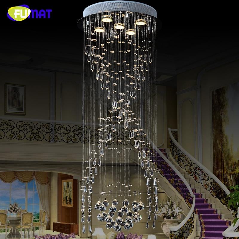 FUMAT Luxury Spiral Stairs Crystal Chandeliers Circular LED Villa Living Room Long Lightings Modern Concise Crystal Chandeliers цена