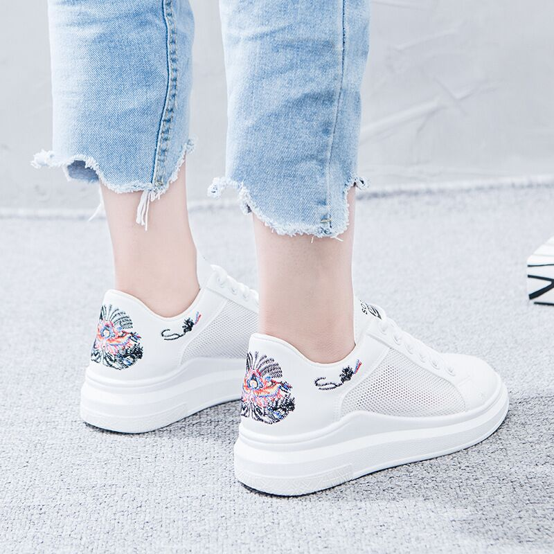2018 New Fashion White Shoes Female Summer Casual Breathable Platforms Woman Sneakers Student Shoes Zapatos Tenis Feminino ZX-15